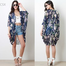 New Arrival 2014 Women's Chic floral print kimono Loose kimono cardigan Jackets Long kimono blouse 36