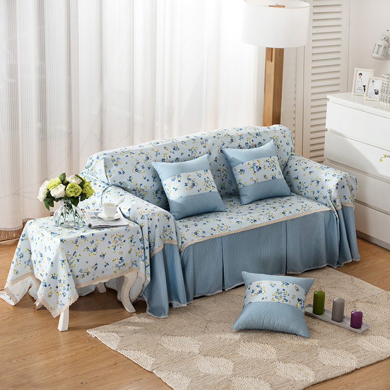 SunnyRain Pastoral Blue Floral Sofa Cover For Living Room I Shaped ...