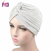 цена на Fashion Women Knitted Striped Turban Breathable Turban Twist Headband Muslim Turban Hat Hijab Hair Accessories Headwear