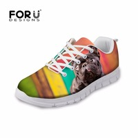 FORUDESIGNS Cute Pet Dog Printed Women S Shoes Spring Casual Women Lace Up Flats Female Light