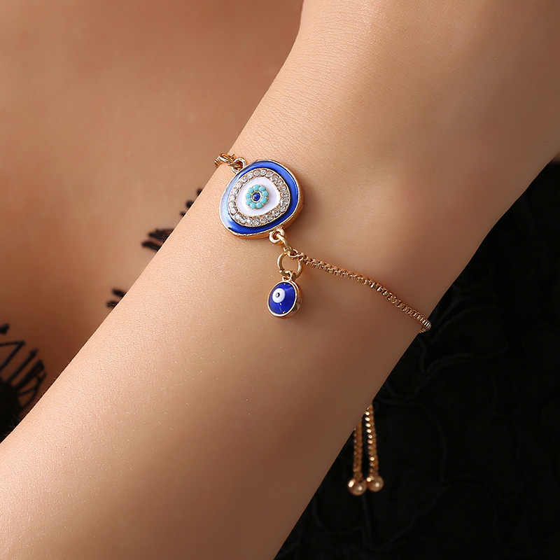 New Fashion Gold/Sliver Heart Blue Lucky Evil Eye Bracelet Charm Trendy Adjustable For Woman Girl Bangles Jewelry Gift