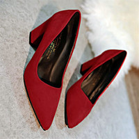 Women S 7 5 Cm Block Heel Sexy Pointed Toed Woman Pumps Fashion Shoes EUR 34