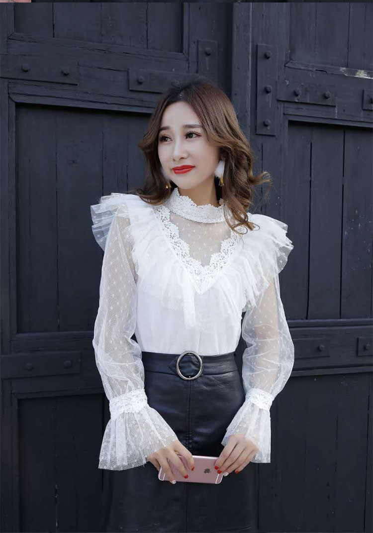 Neploe Lace Patchwork Bow Chiffon Blouse Flare Sleeve Ruffles Single Breasted Women Tops Stand Collar Bandage New Blusas 68442 Blouses & Shirts