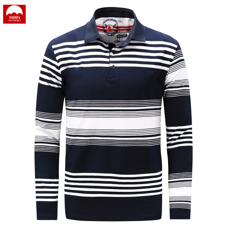 Polo   Shirt Man Lapel Fashion Long Sleeve Stripe Thicken Loose Spring And Autumn Leisure Cotton Button Large Size NZC-123