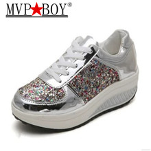 MVP BOY 35-41 Bling Platform Sneakers Women Fashion Golden Sequin Waterproof Flat Shoes Spring Autumn Lace Up Casual