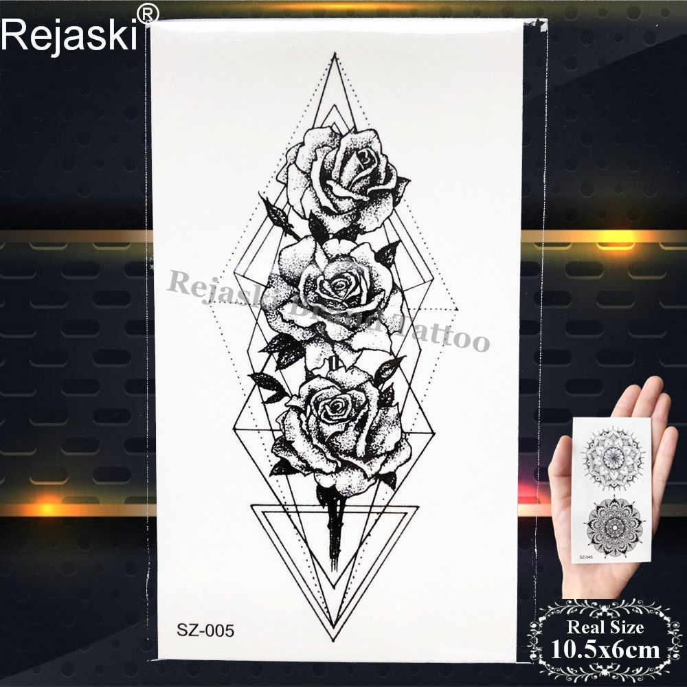 Rejaski Kleine Geometrische Vrouwen Tattoo Sticker Zwarte Eye Rose Bloem Totem Tijdelijke Tattoo Mannen AK47 Gun M416 Nep Tatoo Body arm