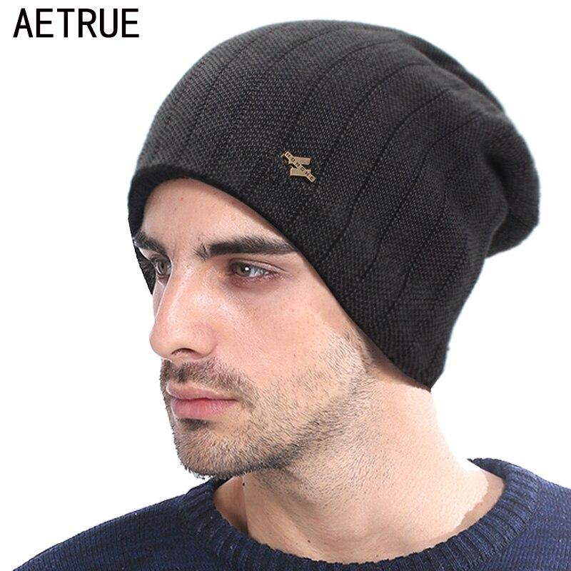 AETRUE Brand   Skullies     Beanies   Hat Men Women Winter Hats For Men Fashion Fur Caps Male Warm Baggy Bonnet Mask   Beanie   Knitted Hat