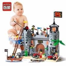 Просветите Пираты Дети Рыцарь Замок Строительство Блоки Лодки Подарки Блоки Игрушки, совместимые для серии Heros