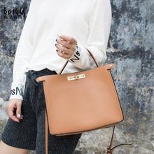BRIGGS genuine leather handbag women shoulder messenger bags female fashion crossbody bag ladies solid small tote bag sac main цена
