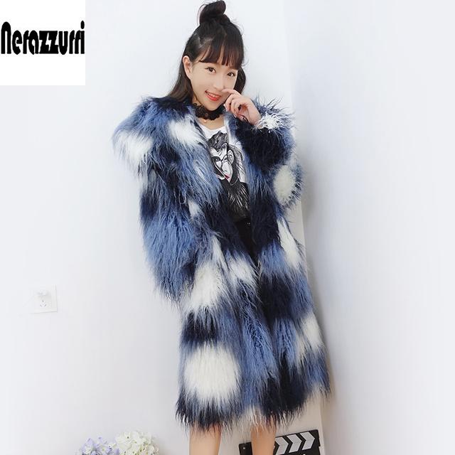 Nerazzurri Shaggy Faux Fur Coat Gradual Long Sleeve Hairy Colorful Mongolian Sheep Fur Overcoat Plus Size Fluffy jacket 5XL 6XL