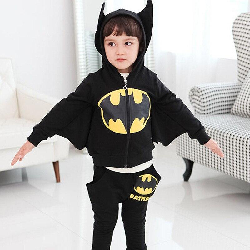 2pcs Kids batman Costumes clothes 2018 children's clothing suits Cartoon kids hoodies+pants children sports suit boys clothes