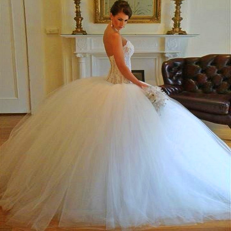 Aliexpress.com : Buy Gorgeous Crystal Ball Gown Wedding Dress 2016 ...