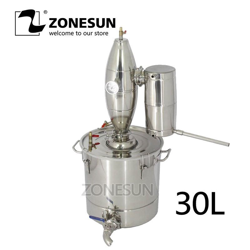 ZONESUN 20 30 50 70L Vin Distillateur Barware Machines De Brassage En Acier Inoxydable Vin Faire Chaudière D'alcool Brew Kit Barre De Dispositif ensemble