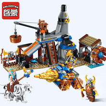 Enlighten Building Block War of Glory Castle Knights blacksmith's shop 3 Figures 368pcs Educational Bricks Toy Boy Gift