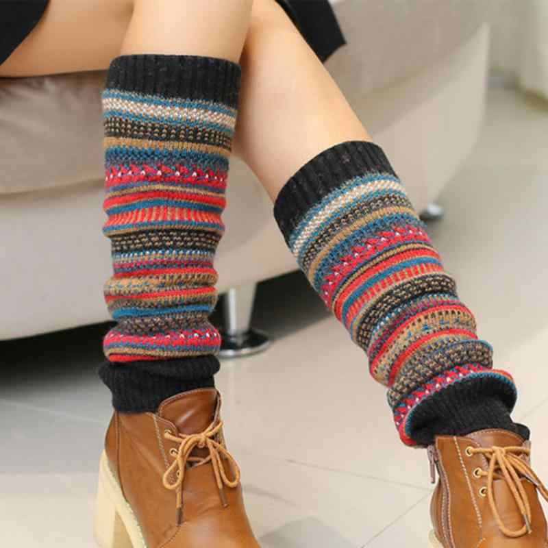 Nowo zaprojektować 1 para kobiety zimowe ciepłe getry z wełny dziania zakolanówki Boot mankiety moda dziewczyny prezent getry BAC319