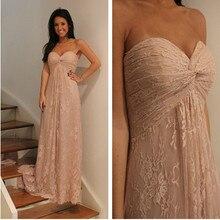 Freies Verschiffen Elegante Champagne Lace Brautkleider Sweep Zug Abendkleid Vestidos De Fiesta