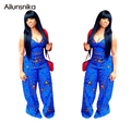 Ailunsnika 2017 Summer Women Elegant Casual Style Blue V-Neck Full Length Rompers Sexy Backless Club Wear Jumpsuits OS2140