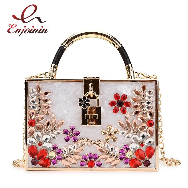 Luxurious Flower Diamonds Quality Acrylic Box Shape Ladies Party Bag Shoulder Bag Chain Purse Women's Mini Messenger Bag Flap flower embroidery flap chain bag
