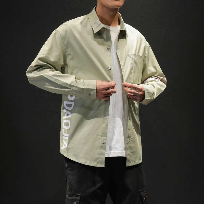 2019 модные мужские рубашки с длинными рукавами Японская уличная высококачественная повседневная приталенная черная рубашка с отложным воротником Harujuku