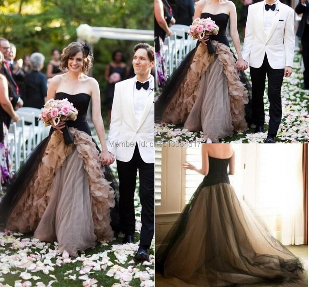 2015 Black Champagne Tulle Ball Gown Wedding Dresses Vintage Bridal
