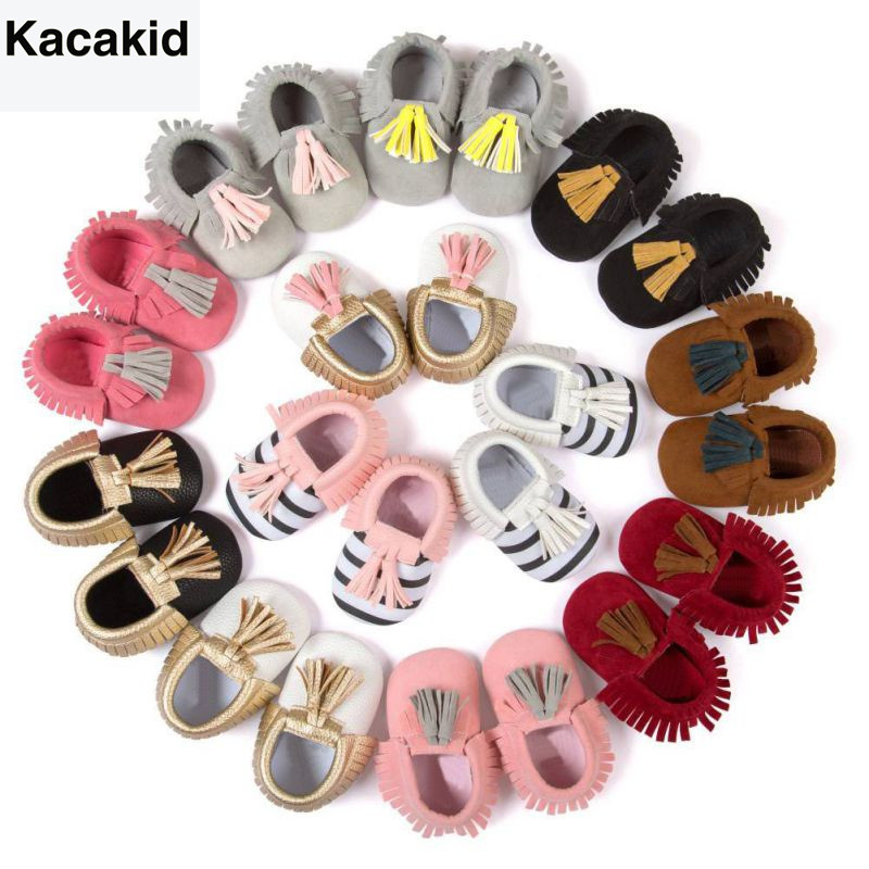 Kacakid Baby Shoes PU Suede Leather Newborn Baby Boy Girl Moccasins Soft Shoes Fringe Soft Soled Non-slip Crib First Walkers