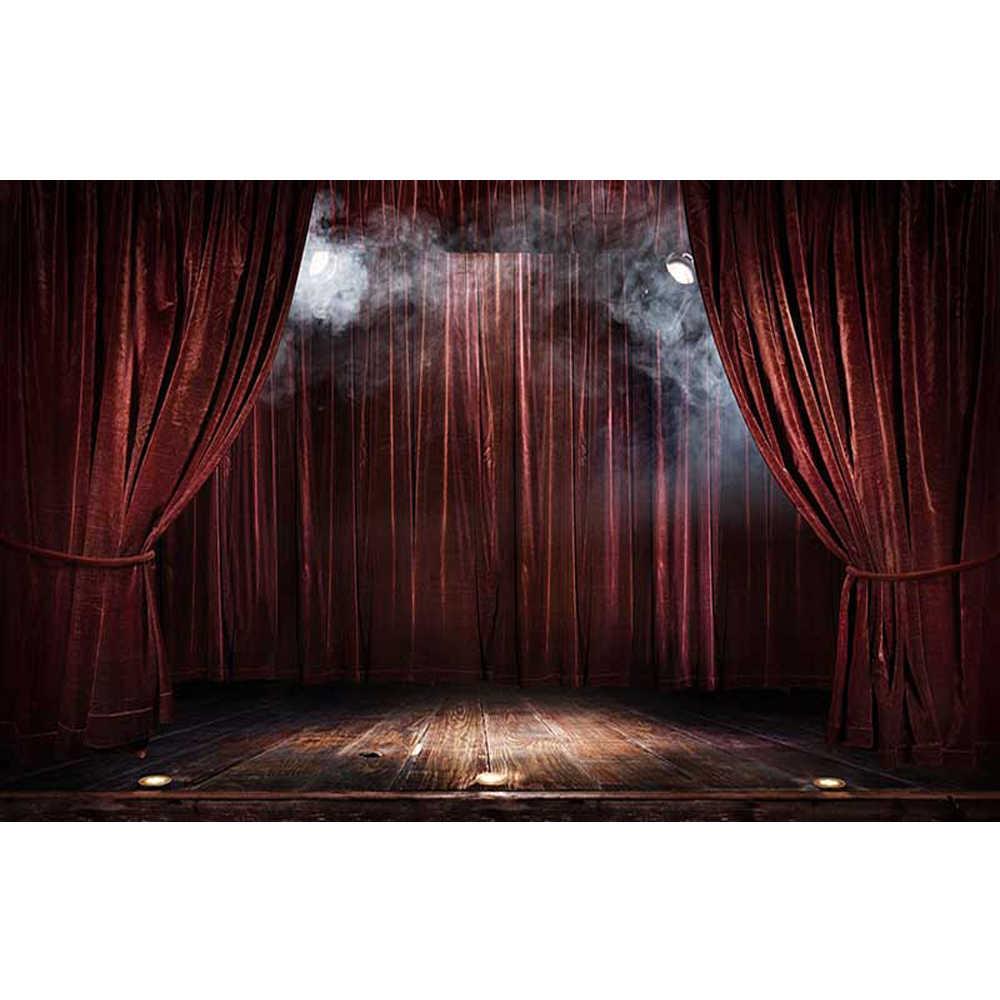 Винно-красные шторы сценический фото стенд фон виниловый Печатный прожектор туман Крытый свадебная фотография фон с деревянным полом