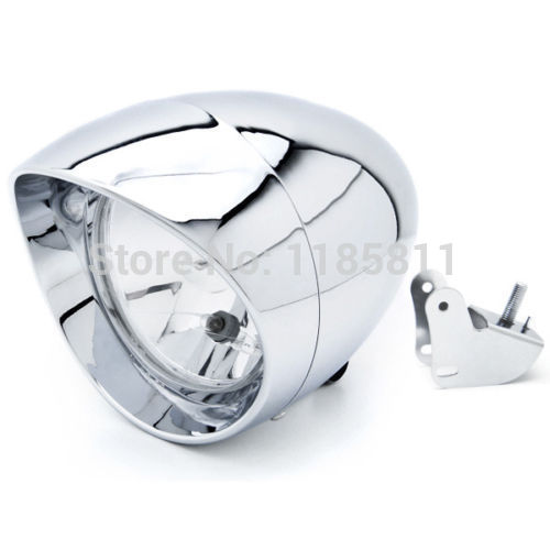 Motorcycle Universal Custom Chrome Headlight low high beam Head lights with mounting Bracket For Harley Softail FXSTI