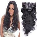 10 pçs/set clipe em extensões de cabelo humano em extensões de cabelo onda do corpo 100% não transformados peruano virgem extensões de cabelo humano
