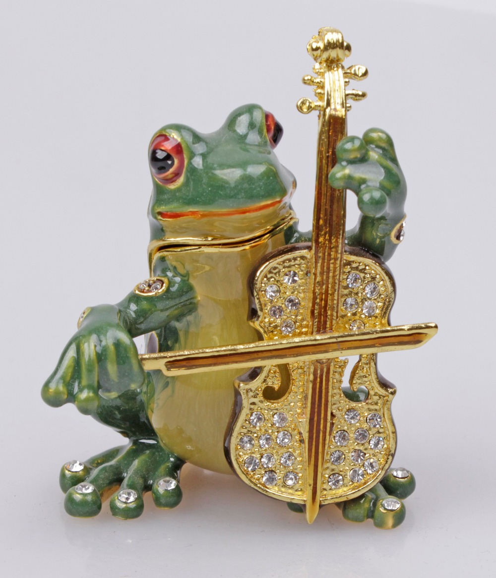 Vintage Frog Trinket Box Beautiful Jeweled Pewter Frog Playing Cello Jewelry Box