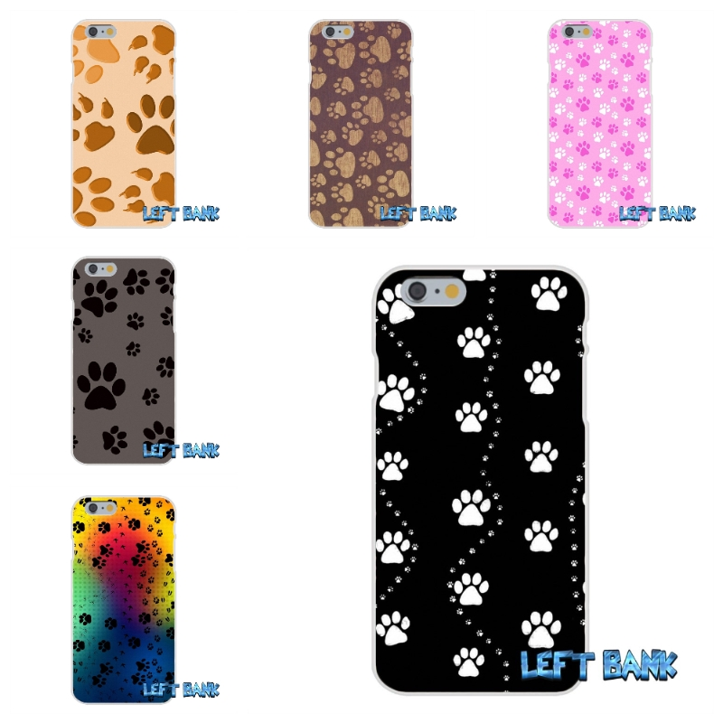 For iPhone 4 4S 5 5S 5C SE 6 6S 7 Plus Dog Footprints Dog Paws Soft Silicone TPU Transparent Cover Case