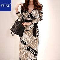 Women Wrap Dress Fall Vintage Geometric Printed Cool Color Bandage Lace Up V Neck Long Sleeve Office Party Retro Maxi Dresses