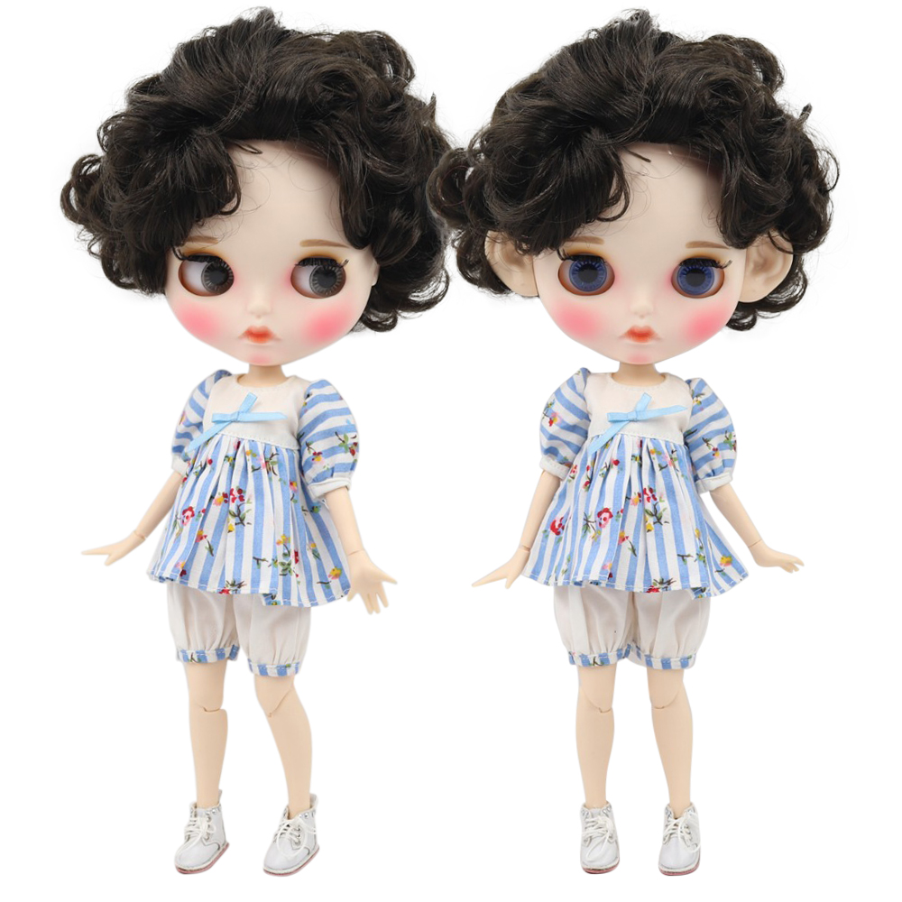 factory blyth doll 1 6 bjd white skin joint body deep brown black hair new matte