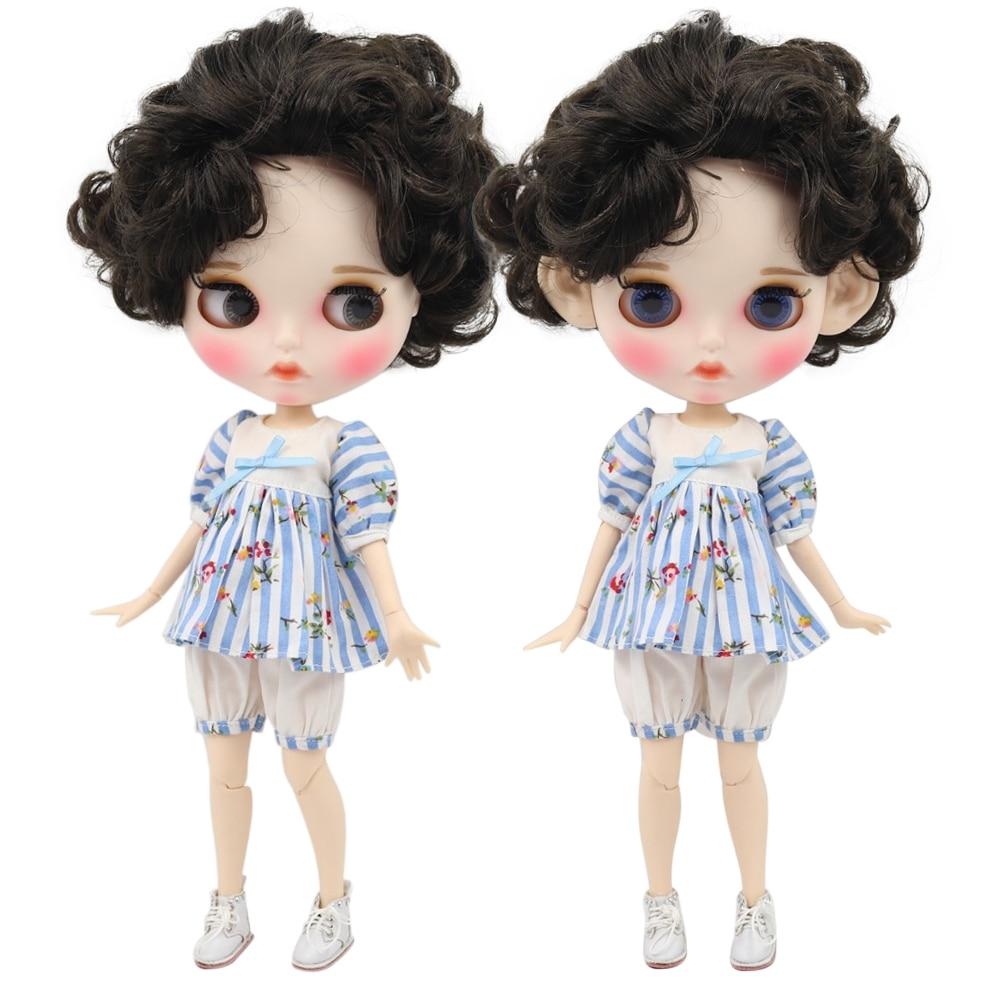 Fabriek blyth doll 1/6 bjd witte huid joint body diep bruin zwart haar, nieuwe matte gezicht Gesneden lippen met wenkbrauw aangepaste gezicht-in Poppen van Speelgoed & Hobbies op  Groep 1