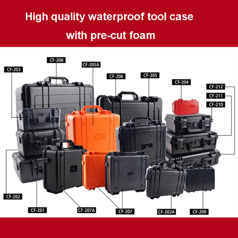 Waterproof Toolbox Protective Case Equipment Suitcase Impact Resistant Instrument Plastic Toolbox With Sponge Shipping Free