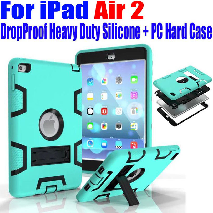 Für ipad air2 9,7 zoll case kids safe rüstung drop proof heavy duty silikon tpu + pc hard cover + displayschutzfolie i614