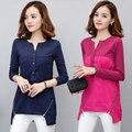 Inverno básico plus size camiseta femme tshirt longo da luva mulher t shirt das mulheres tops 2016 Botão zipper t-shirt camisetas mujer
