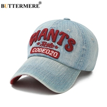 BUTTERMERE Washed Denim Baseball Caps Men Vintage Letter Embroidery Sun Cap Women Blue Red Summer Designer Hip Hop Dad Hats