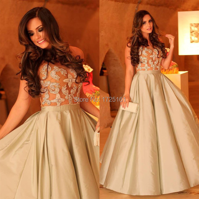 Champagne Ball Gown Appliques Beading Long Prom Dress Sleeveless