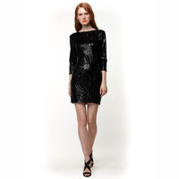 Women Sexy O Neck 3 4 Sleeve Summer Backless Sequins Bodycon Pencil Dresses 5 Colors