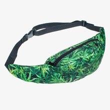 Mauvaises herbes vert 3D Impression fanny pack pour les femmes qui se soucie 2016 mode Nouveau militaire taille sac bolsa ceinture de jambe de baisse fanny pack pochete
