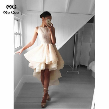 Adorable High Low Peach Homecoming Graduation Dresses with Lace Sleeveless Organza Prom Gown Ruffles Cocktail Party Dress
