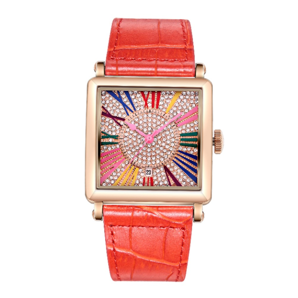 MATISSE Fashion Full Diamond Dial Leather Strap Women Ladies Quartz Watch Wristwatch