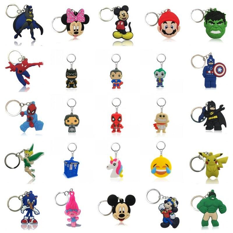 500pcs Cartoon Key Chain Mickey Avenger Mario Anime Keyring Unicorn Justice League Joker Keychain Key Holder