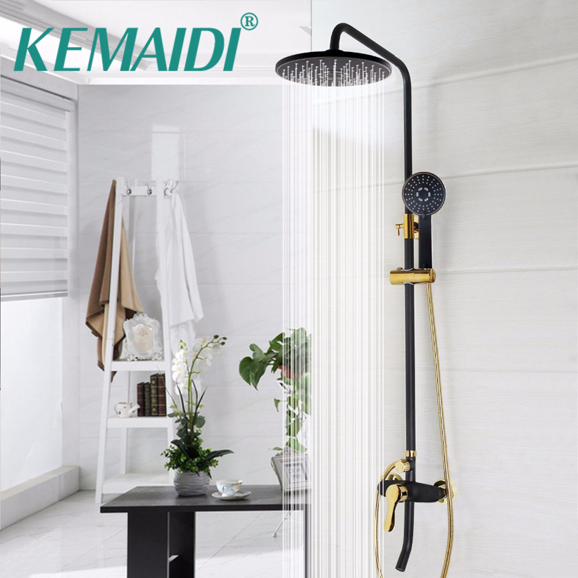 KEMAIDI New Arrival Wall Mounted Rainfall Shower Mixer Tap Faucet Mixer Valve Bathroom Black Shower Set With Handheld Shower KEMAIDI New Arrival Wall Mounted Rainfall Shower Mixer Tap Faucet Mixer Valve Bathroom Black Shower Set With Handheld Shower
