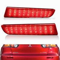 For 08 14 Mitsubishi Lancer Red Lens LED Rear Bumper Reflector Brake Light Lamp