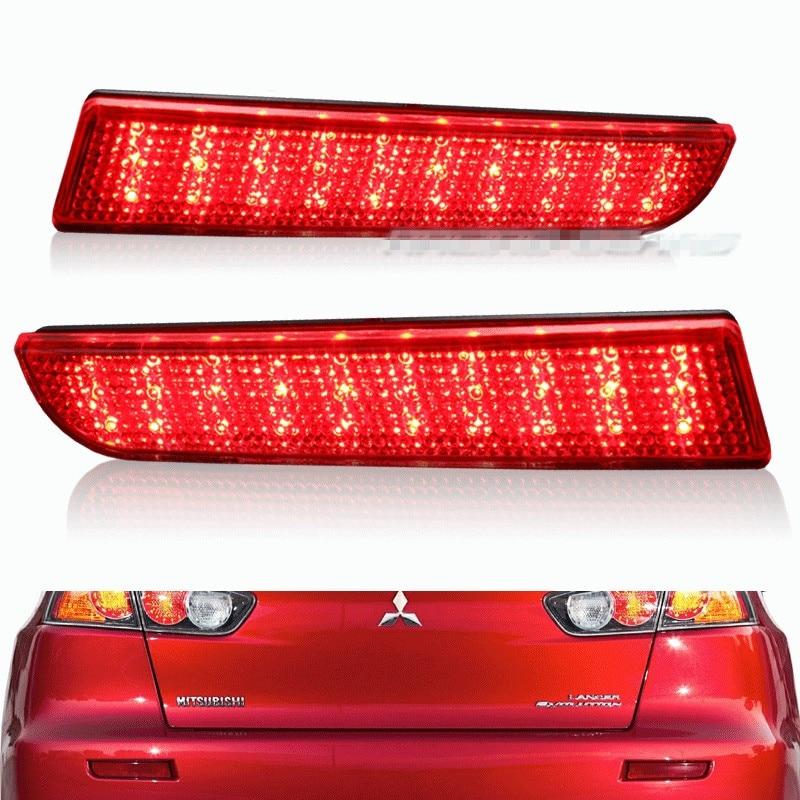 For 2008 09 10 11 12 13 2014 Mitsubishi Lancer Red Black White Lens LED Rear Bumper Reflector Brake Light Lamp
