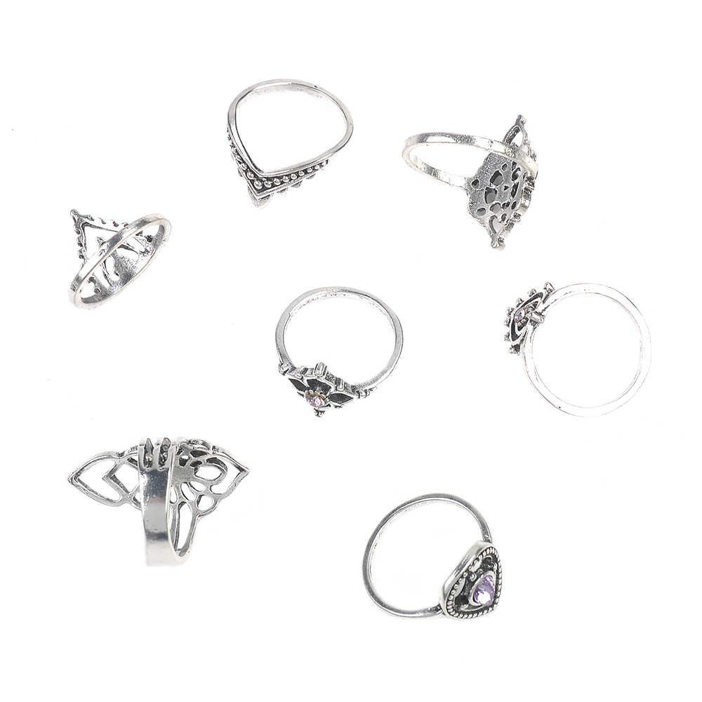 7 יח'\סט בוהמיה בציר כסף סגול קריסטל ריינסטון מגולף טיפת סט טבעת Midi מעל Knuckle טבעת תכשיטים