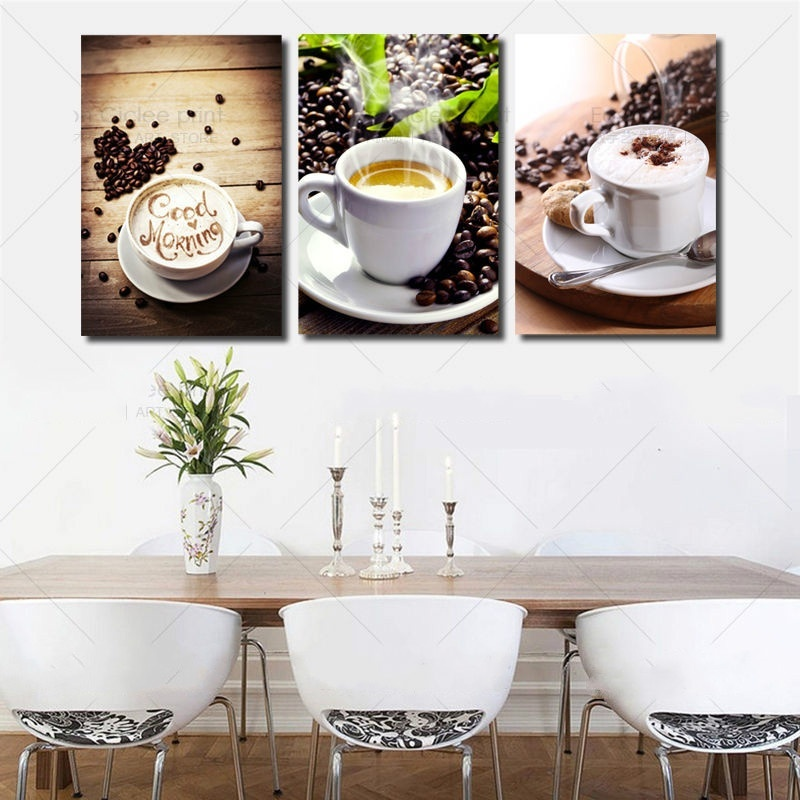 3 Panels Unframed Canvas Photo Prints Modern Kitchen Scene Coffee Wall Art  Picture Canvas Paintings Wall Decoration