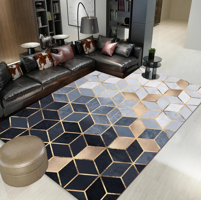 Nouveau INS nordique moderne métal doré tapis noir géométrique pour chambre porte tapis salon tapis salon Tapete métal vent tapis - 2