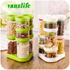 Lot 8pcs A Vanzlife Kitchen Storage Canister Rotating Plastic Tank Creative Dry Cereals Storage Bottle Food